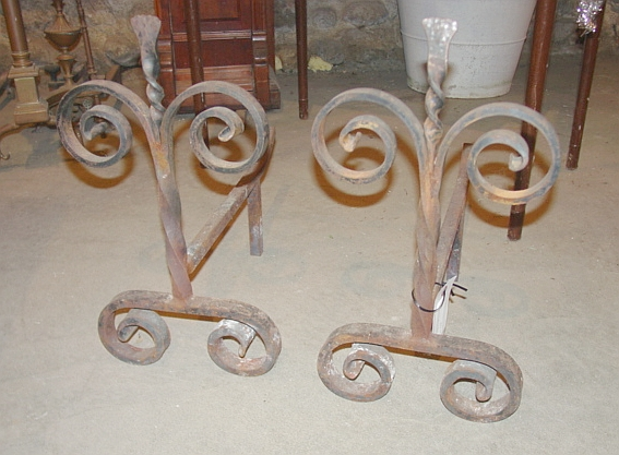 Pair of Vintage Wrought Iron Andirons