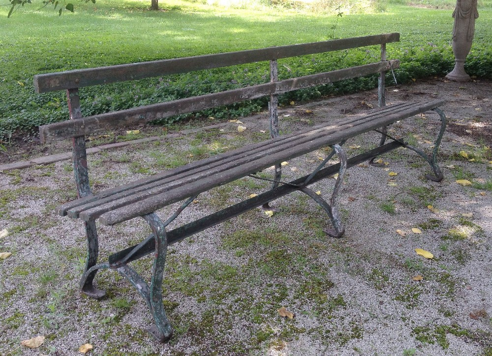 Vintage Wood and Iron Park Bench