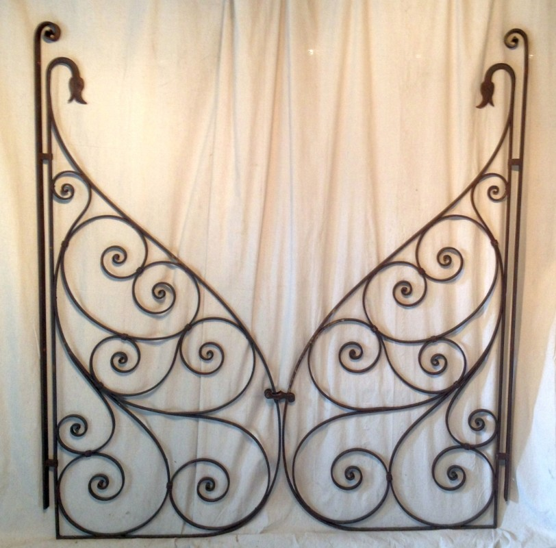 French Figural Wrought Iron Gates