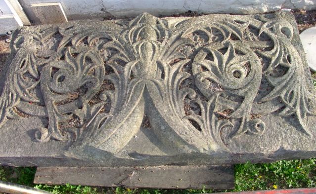 19th c. Carved Limestone Panel