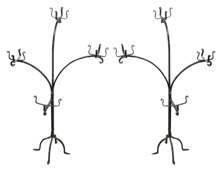 Pair of scrolling wrought iron plant stands